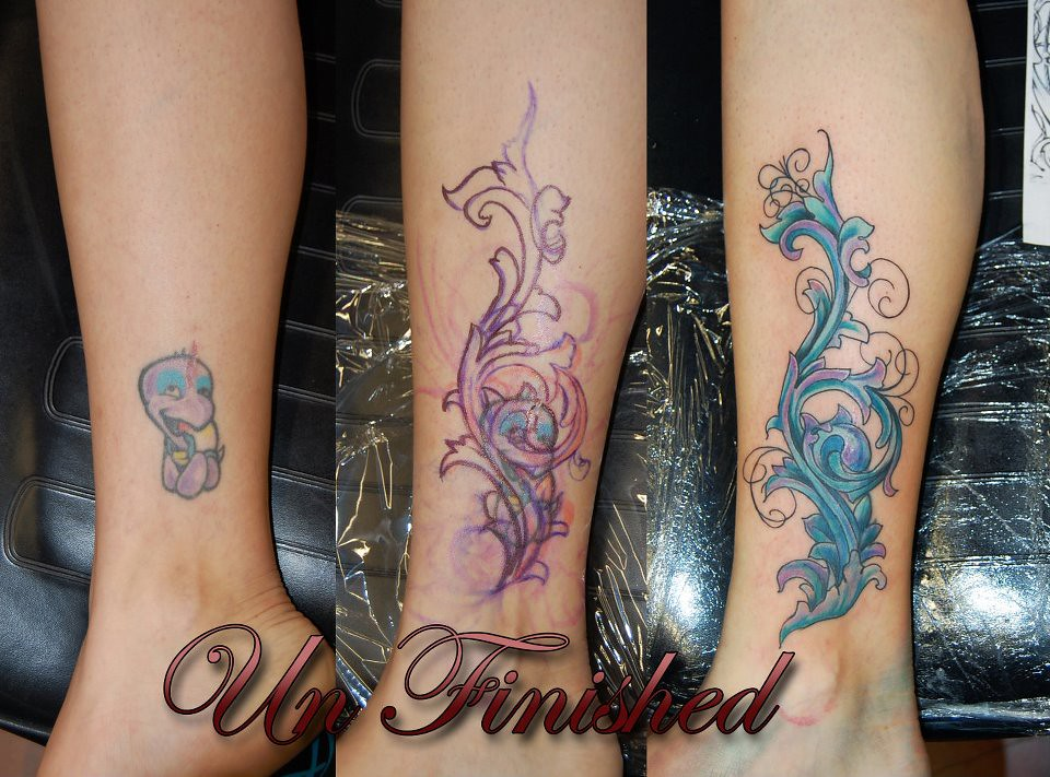 Cover up filigree james danger harvey the skin gallery for Ankle tattoo cover ups