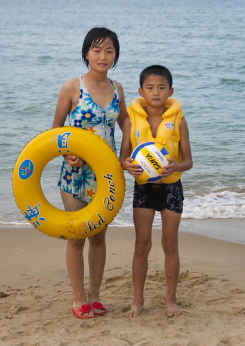 North Korean kids at the beach - North Korea | by Eric Lafforgue