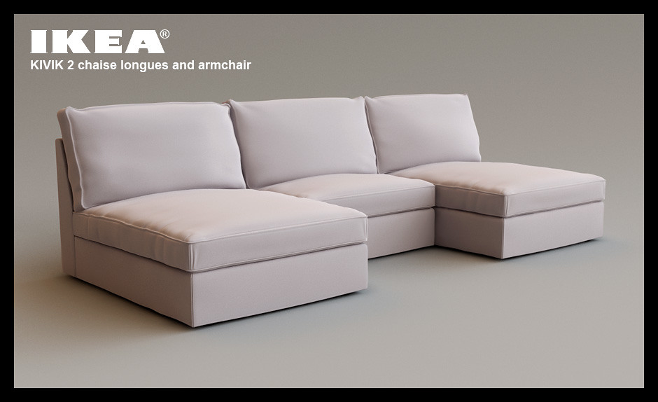 ikea chaise longue 3d modelled surfaced lit and