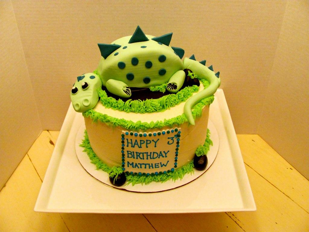 Dinosaur Birthday Cake 4 Quot Mini Cake On Top Of 3 Layer 8