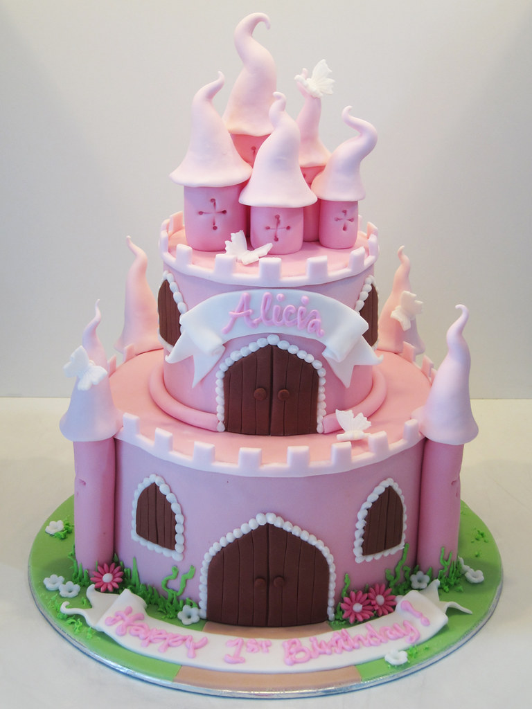 pink castle with little flowers and butterflies ...