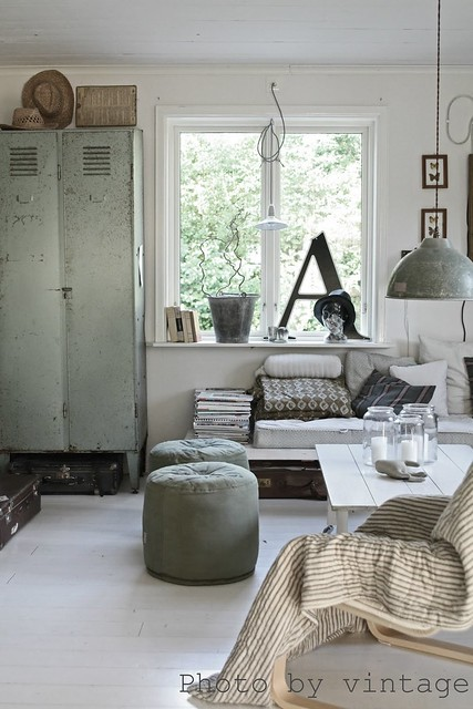 Gray And White Transitional Rustic Living Room With: Johanna Flyckt {gray And White Vintage Indusrial Rustic