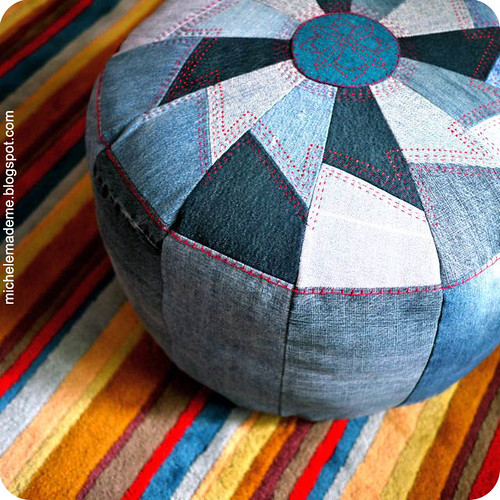 Denim Pouf closeup | by michele made me