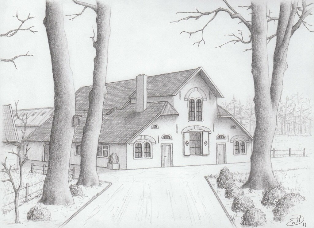 Farmhouse At Uddel The Netherlands Pencil Drawing Evelien Van