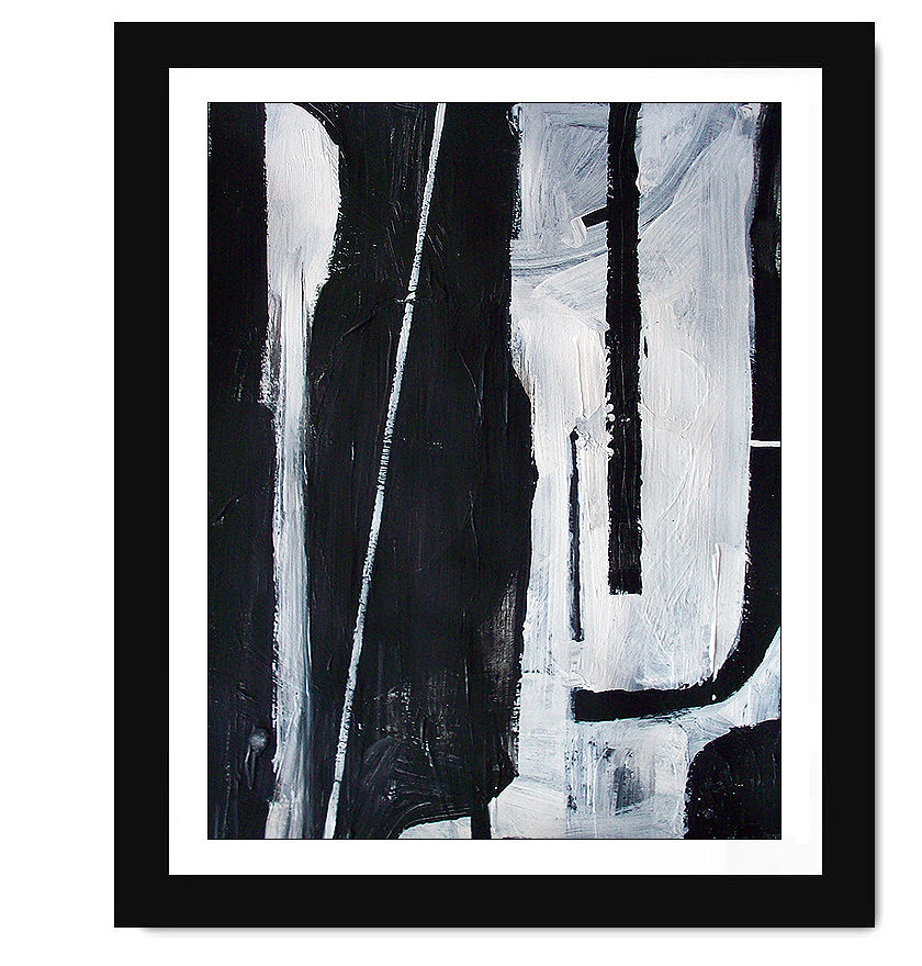 Moda modern abstract minimalist black and white painting for Black white canvas paintings