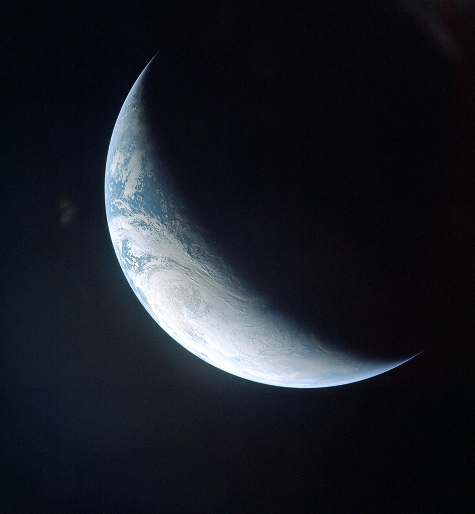 Crescent Earth From Apollo 4 A Beautiful Photograph Of
