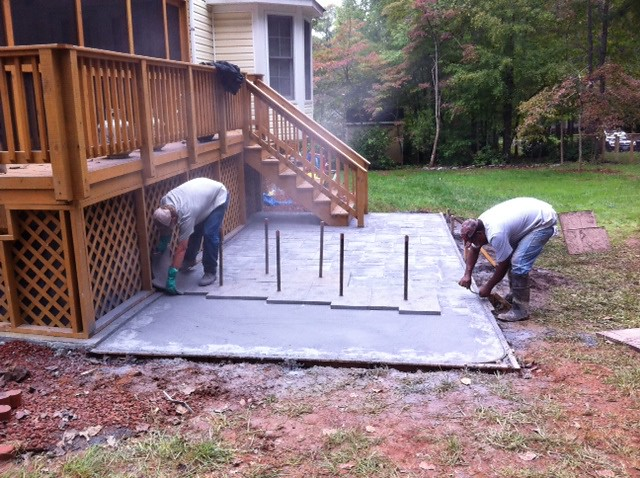 pouring stamping a concrete patio in lynchburg today