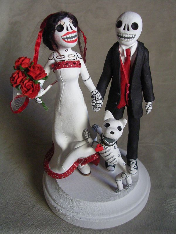 skeleton wedding cake toppers day of the dead skeleton groom and bulldog 20175