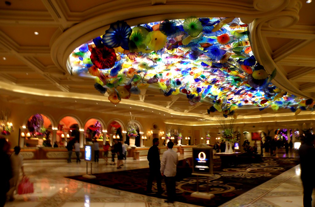 Bellagio Interior The Flowers Are Made Of Blown Glass