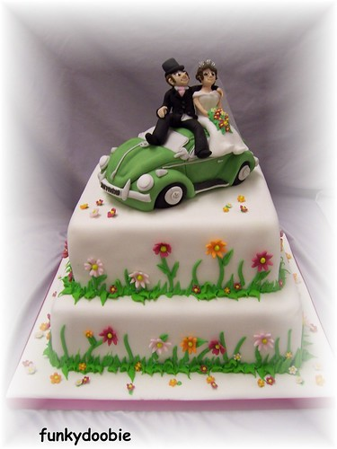 funky wedding cakes funky 2 tier funky flowe power vw beetle wedding cake 14531