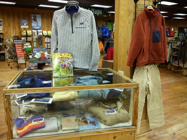 vintage patagonia clothing on display in the raleigh shop