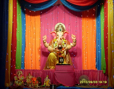 Beautiful ganesha murti in ganesh chaturthi festival flickr for How to make decorations for ganesh chaturthi at home