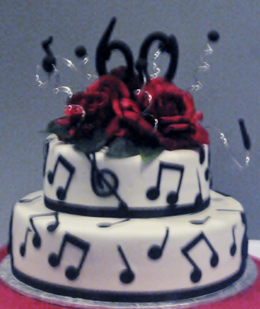 Two Tier 60th Birthday Cake With Music Notes Www