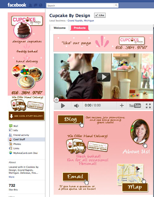 customized facebook fan page for cupcake by design grand