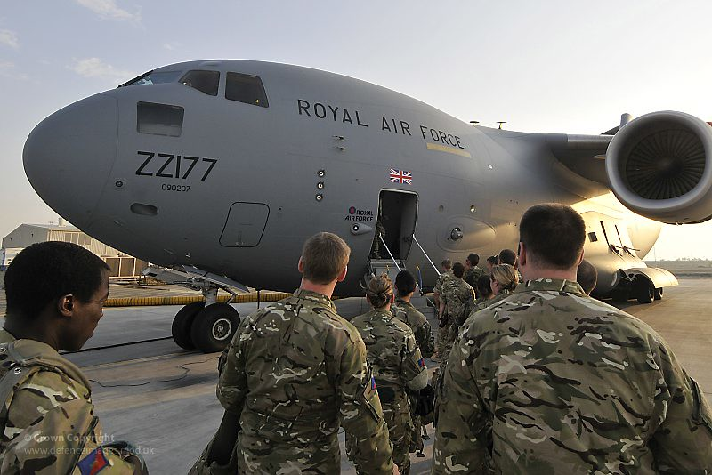Troops Board Raf C17 Transport Aircraft Enroute To Afghani
