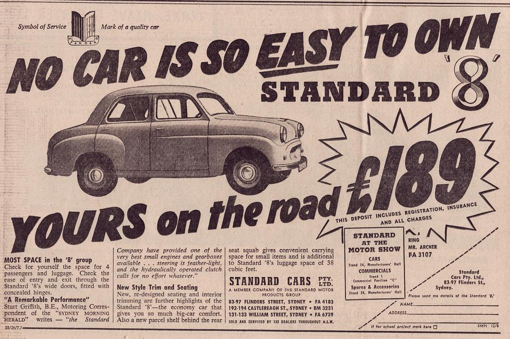 What Is A Sedan >> 1955 Standard 8 Ad - Australia | Covers a Standard 8 Sedan ...
