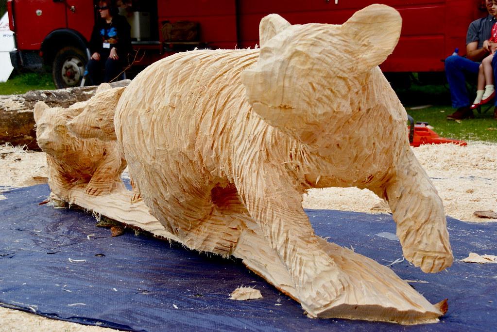 Three bears by usa chainsaw artist dayton scoggins flickr