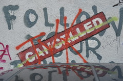"Banksy's ""FOLLOW YOUR DREAMS — CANCELLED"" as of August 2011"