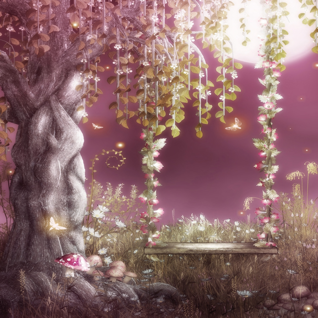 fairy garden white wallpaper - photo #33