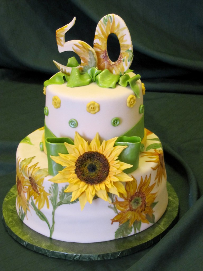 Painted Sunflower Cake Hand Painted Cake With Sugar