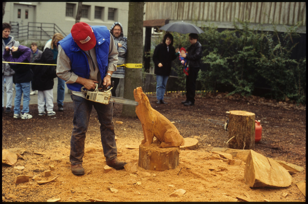 Dennis chastain of forks demonstrates chainsaw carving