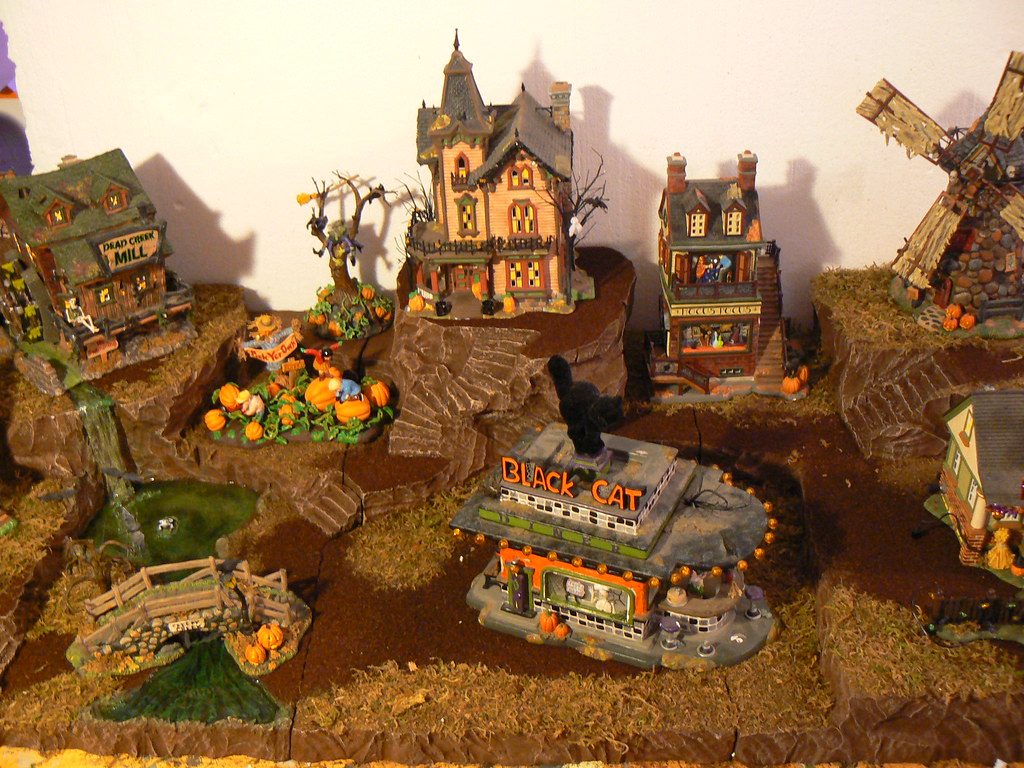ashley's halloween village display | i made this display for… | flickr