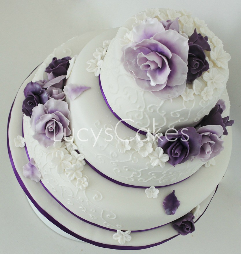 Plum And Grey Wedding Cakes
