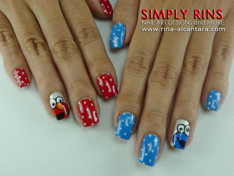Nail Art Cookie Monster And Elmo 07 Rina Alcantara Flickr
