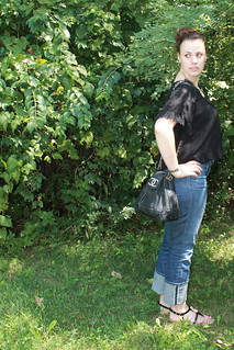 Outfit - jeans, vintage Chenel bag, sheer crop top | by Célèste of Fashion is Evolution
