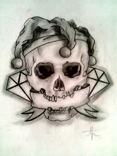 jester skull tattoo design first draft snap back flickr. Black Bedroom Furniture Sets. Home Design Ideas