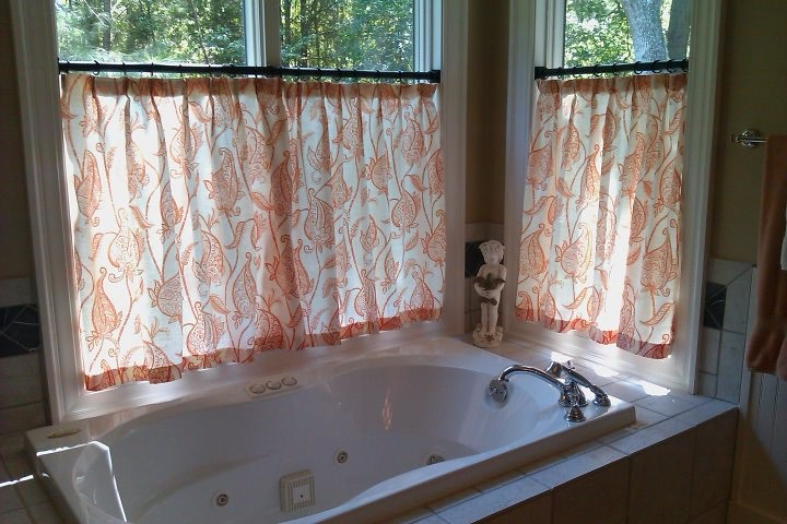 Master bathroom window treatment what to do with those for Curtain designs for bathroom windows