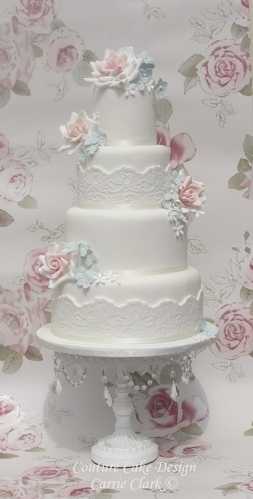 Vintage Lace Roses Wedding Cake This Cake Has Been Inspiri Flickr