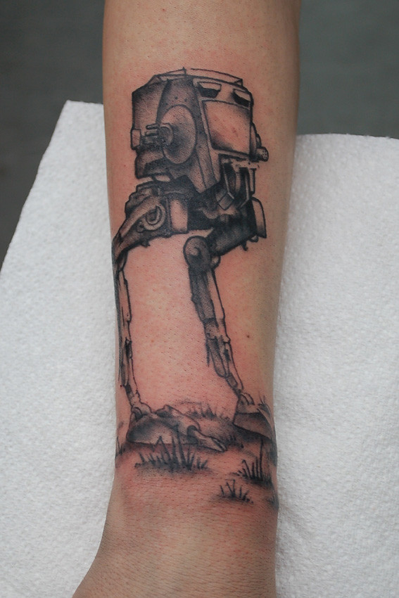 Star wars at st tattoo first session of a black and grey for South street tattoo