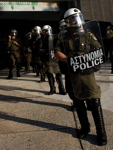 Greek riot police protecting prime minister Giorgos Papandreou. Thessaloniki trade fair, Greece | by Teacher Dude's BBQ