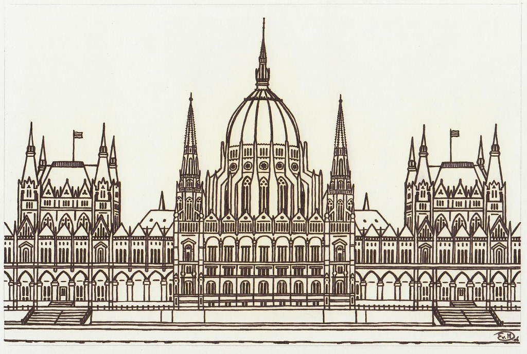Parliament building budapest hungary fineliner drawing for Design apartment 2 budapest