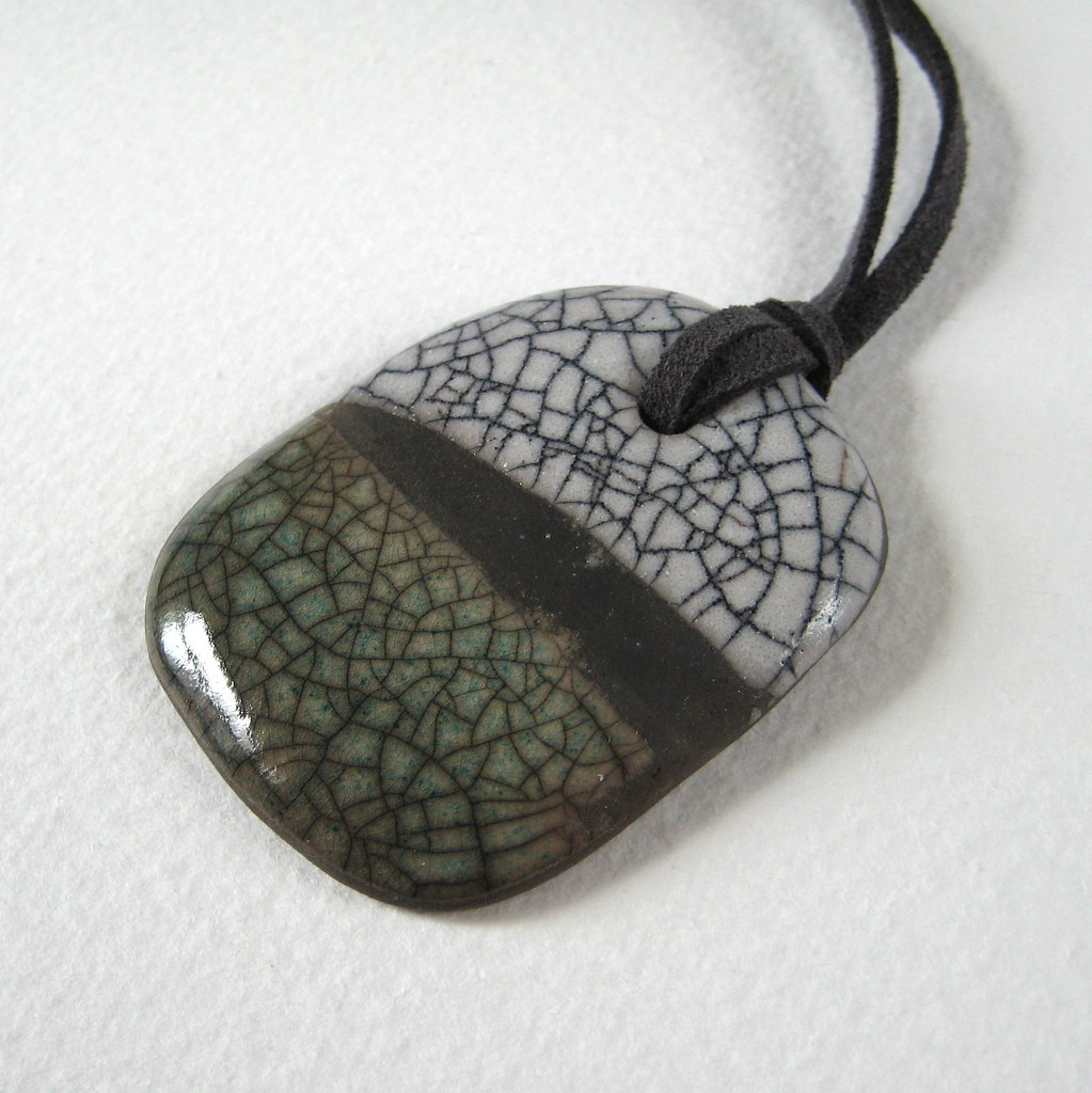 Raku pendant white and antique green stoneware pendant gl flickr raku pendant white and antique green by jude allman aloadofball Choice Image