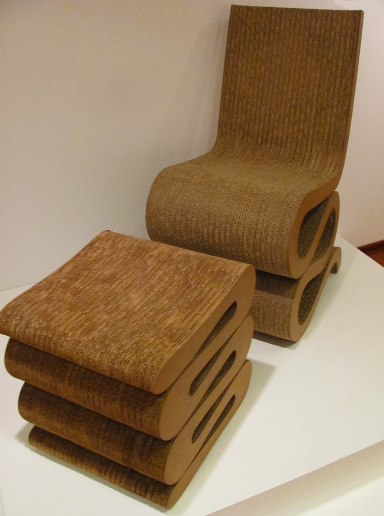 Frank O Gehry Wiggle Side Chair And Wiggle Stool 1972