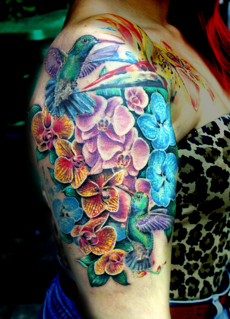 Flowers With Hummingbirds Tattoo By Mirek Vel Stotker Flickr