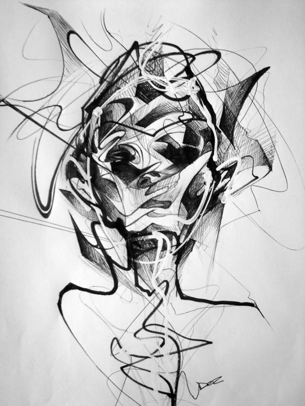 abstract face sketch by art by doc
