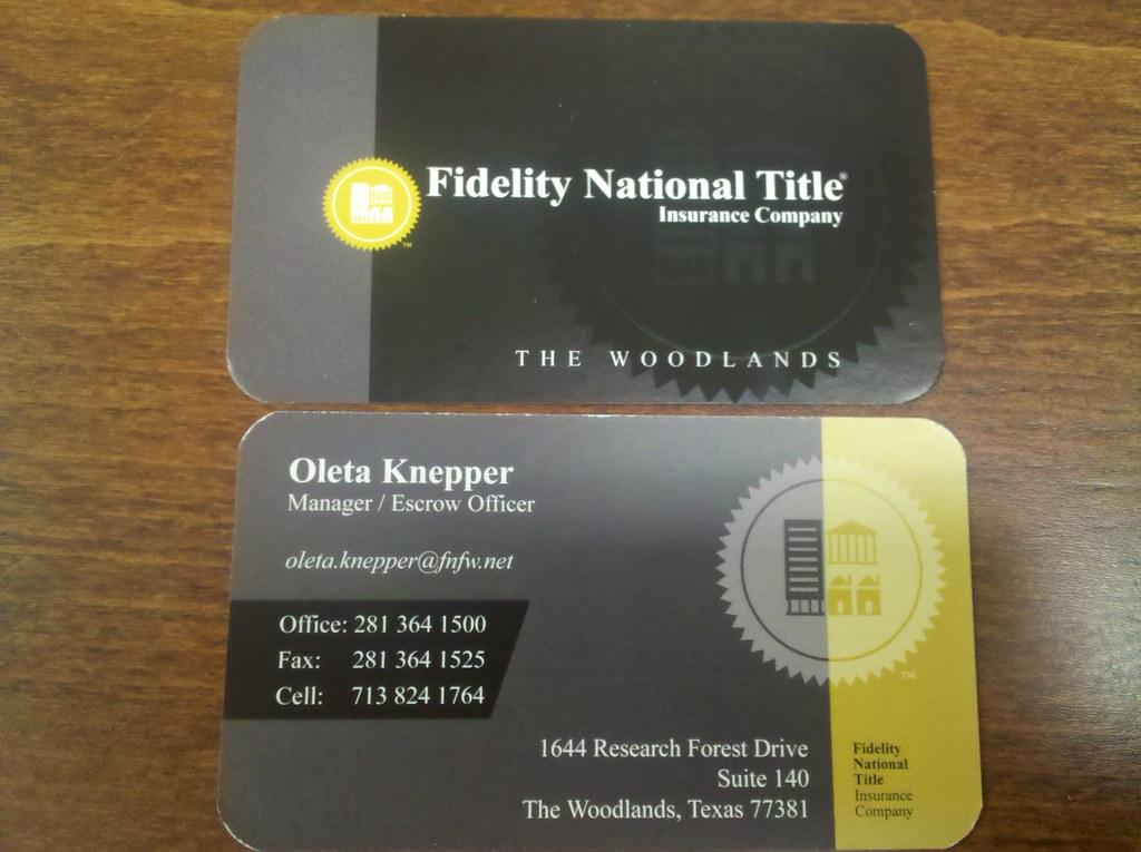 Custom designed business cards fidelity national title flickr custom designed business cards fidelity national title by woodlands ad agency reheart Images