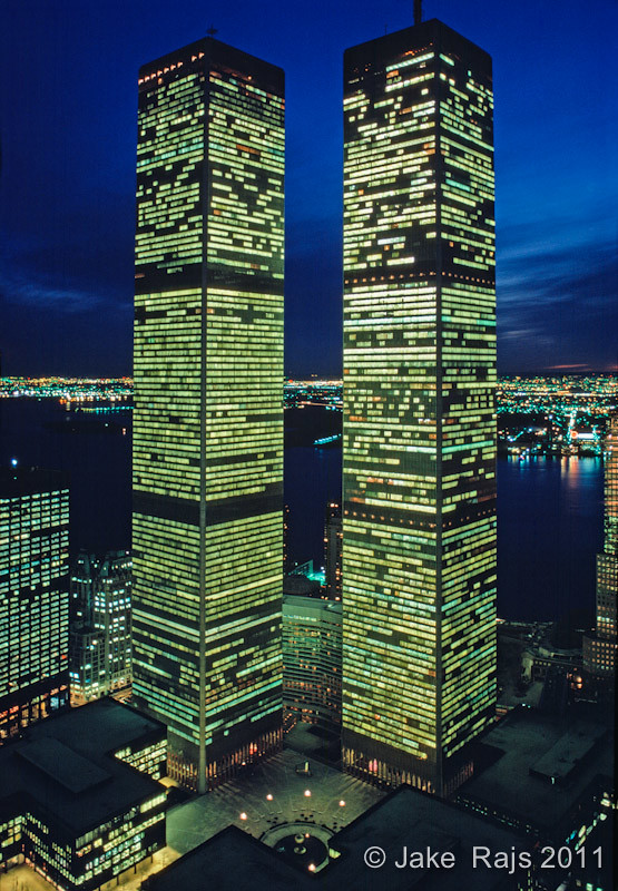 Twin Towers Of The World Trade Center At Twilight Designe