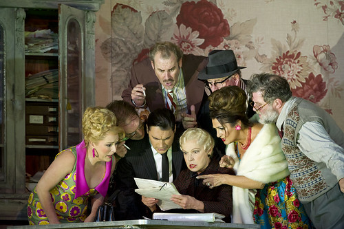 Rebecca Evans as Nella, Alan Oke as Gherardo, Francesco Demuro as Rinuccio, Robert Poulton as Marco, Elena Zilio as Zita, Gwynne Howell as Simone, Marie McLaughlin as La Ciesca and Jeremy White as Betto Di Signa in Gianni Schicchi © ROH / Bill Cooper 2011 | by Royal Opera House Covent Garden