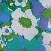 retro multicolored floral: blue, green, purple, & white