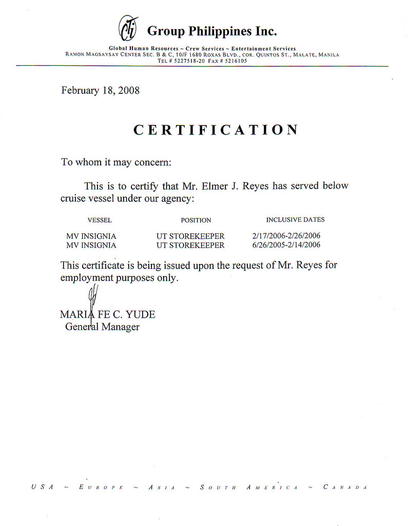 My Certificate of Employment and Other Scanned Documents – Sample of Certification of Employment