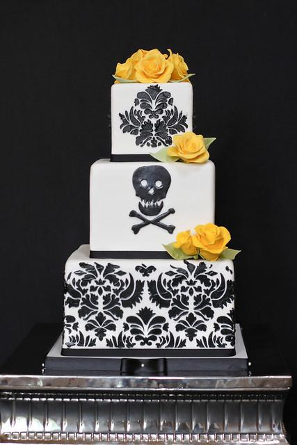elegant skull crossbone wedding cake a little different flickr photo sharing. Black Bedroom Furniture Sets. Home Design Ideas