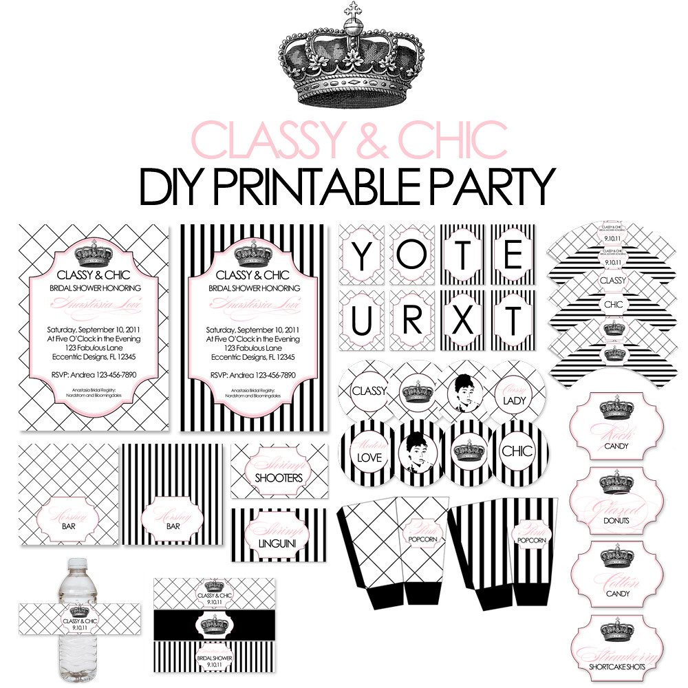 Classy And Chic Collection Printable Party Package Flickr