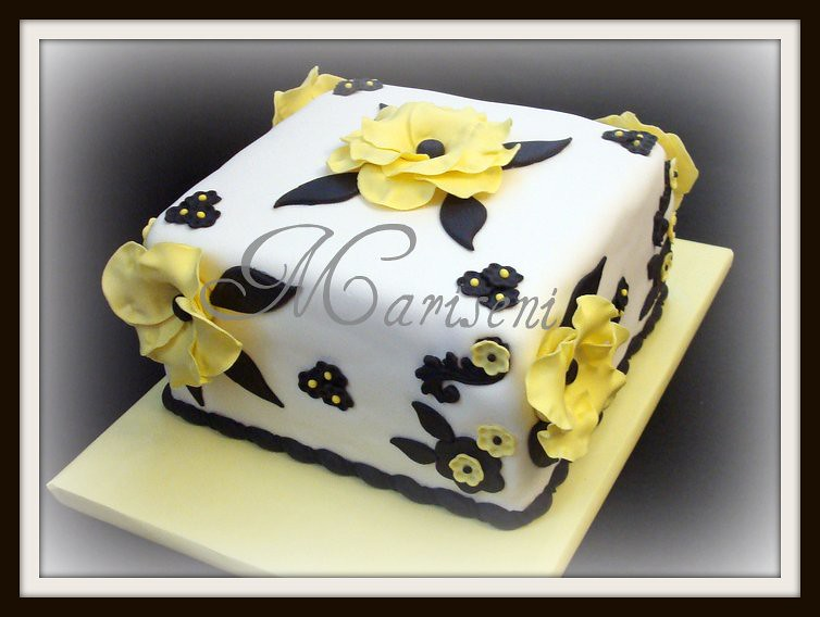 White Black Yellow Floral Birthday Cake Join Us On Faceb Flickr