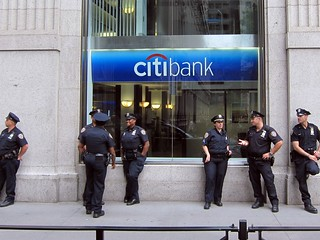 Occupy Wall Street: Day 1, NYPD guarding Citibank | by Scoboco