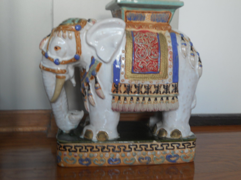 ... SOLD  Vintage Ceramic Elephant Garden Stool | By Brixton Nole