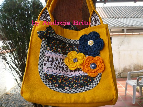 Bolsa De Mão Amarela : Bolsa de m?o amarela com azul marinho em lona